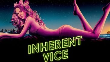 Front cover of Inherent Vice shows a girl lit in neon purples lying on her front in a bikini