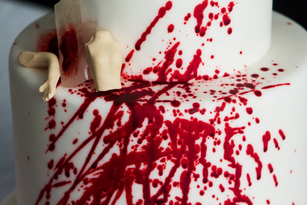 cake inspired by Dexter tv show covered in blood splatters