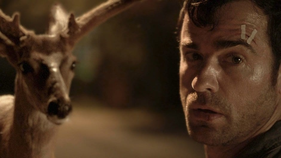 Kevin Garvey (Justin Theroux) and a deer in HBO's The Leftovers