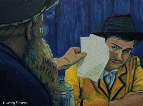 painting of a bearded man holding 2 pieces of paper up to the face of a man in a hat, in the style of Van Gogh's work