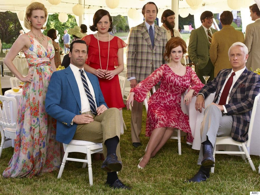 All the Mad Men characters at a garden party