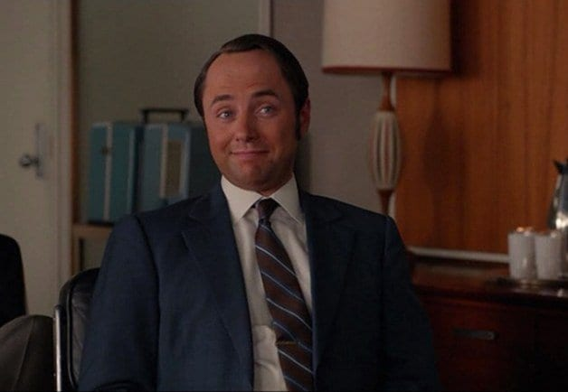 pete campbell with a very orange tan