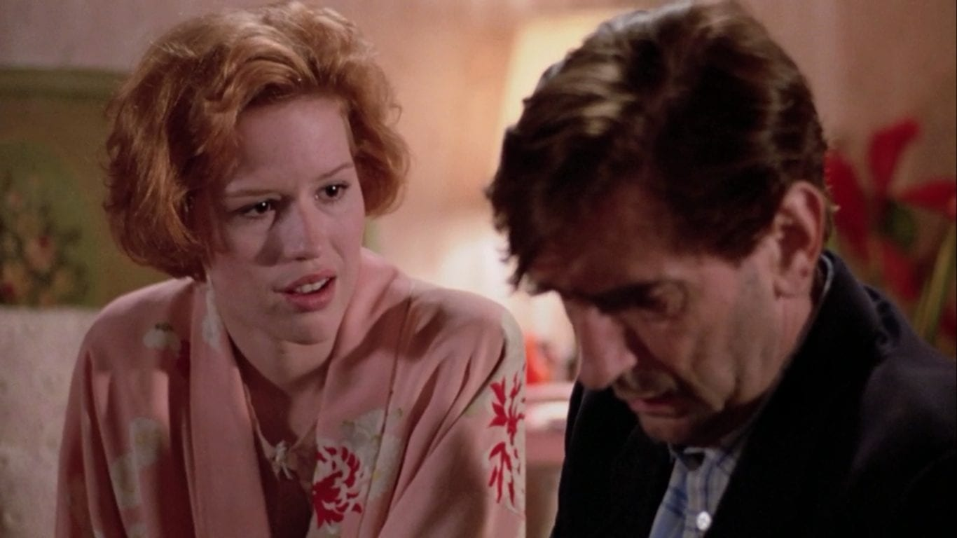 Harry Dean Stanton and Molly Ringwald in Pretty in Pink