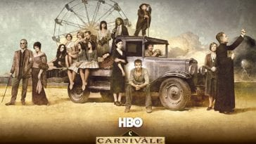 The cast of Carnivale on HBO gathered around a truck in a promo image