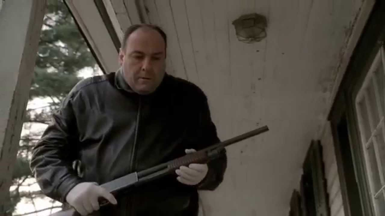 Tony Soprano running from the FBI with a shotgun