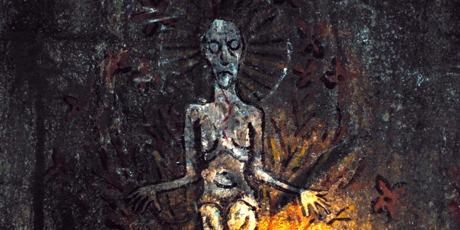 The cave painting of the mother nature goddess in Apostle on Netflix