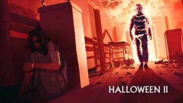 Mike Myers stalks Laurie Strode in a burning hospital