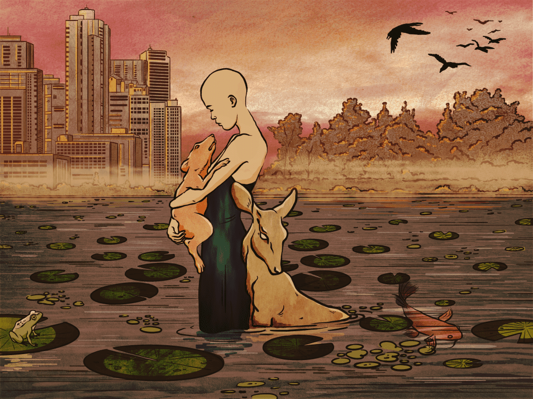 Bald child holding an animal in a dystopian landscape