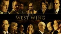 Title card for The West Wing featuring characters surrounding the title