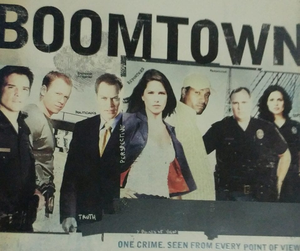 The cover of the Boomtown boxset features the cast