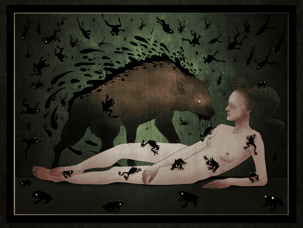 Naked person with a hyena like creature atop them, with many frogs around