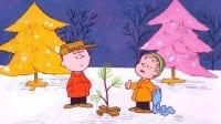 cartoon boys in a Christmas tree lot