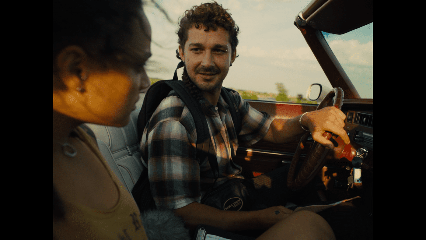 Shia LaBeouf as Jake in American Honey driving a car