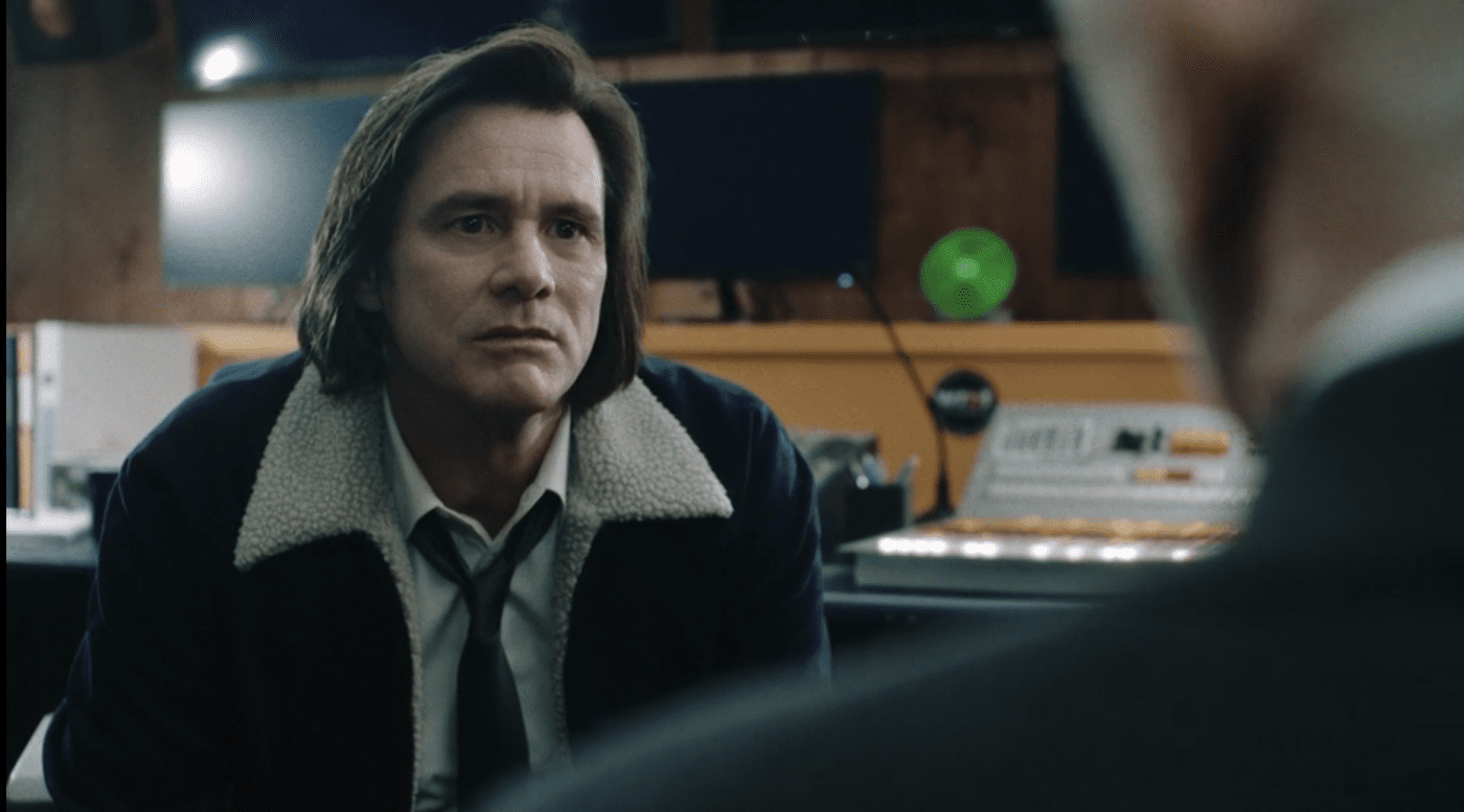 Jeff (Jim Carrey) and Seb (Frank Langella) discuss Jeff's current mental state in Showtime's KIDDING.