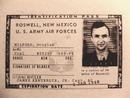 Douglas Milfords Airforce Identification pass, The Secret History of Twin Peaks