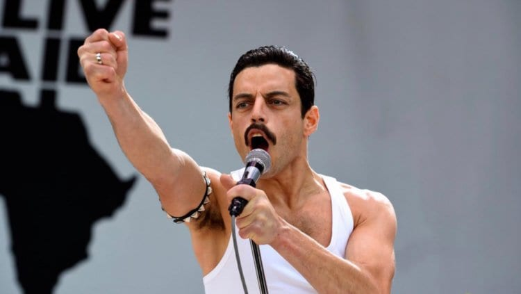 Rami Malek portraying Freddie Mercury in Bohemian Rhapsody.