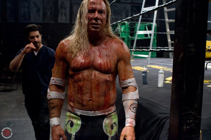 Mickey Rourke in The Wrestler after a death match