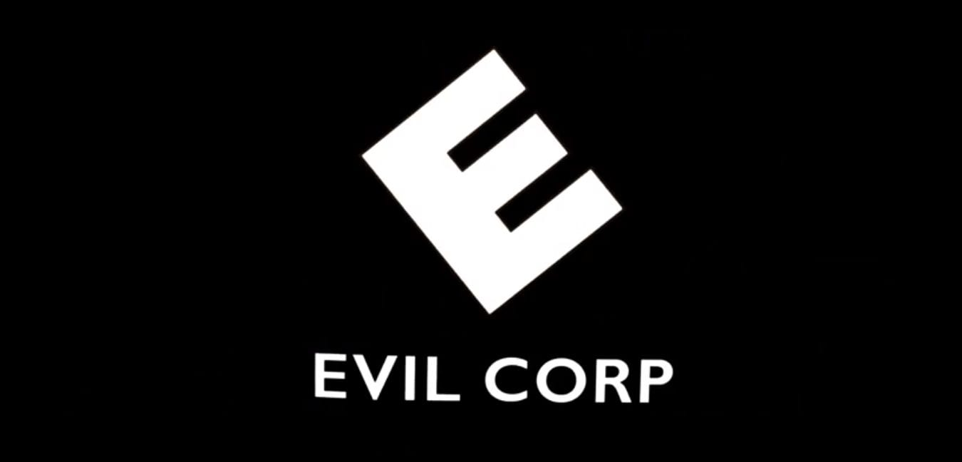 "Elliot (Rami Malek) mentally turns the E Corp logo into ""Evil Corp"" in USA's Mr. Robot"