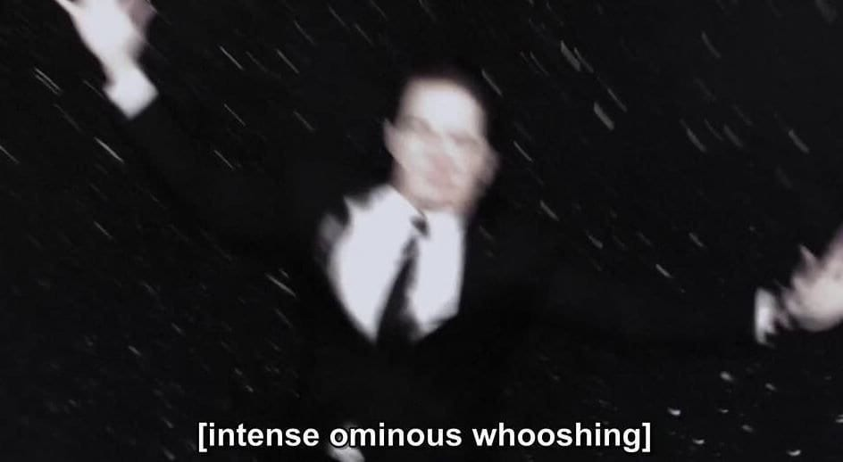 Intense ominous whooshing in Twin Peaks: The Return as Dale Cooper falls through a starry sky at fast speed
