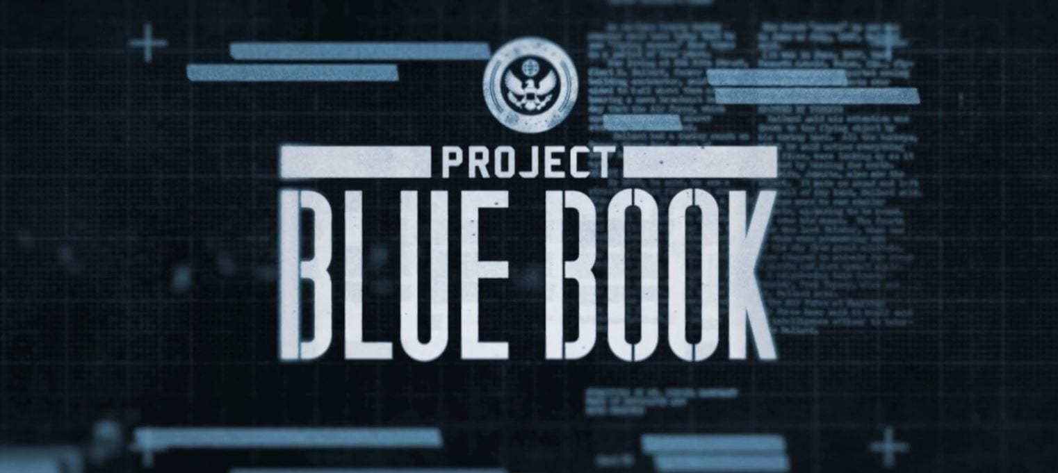 "This is a title image from the credits that shows the title text ""Project Blue Book"" overlaying faded imagery that appears like redacted files text."