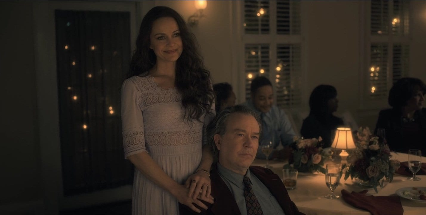 "Hugh Crain with ""Olivia"" at Nell's wedding in The Haunting of Hill House (Netflix)"