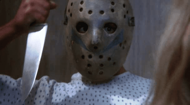Tommy Jarvis wearing the fake Jason mask