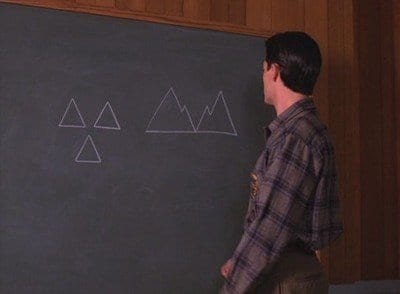 Cooper draws 2 images of triangles on a blackboard