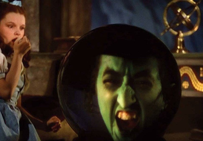 the wicked witch of the wests face inside a crystal ball in wizard of oz
