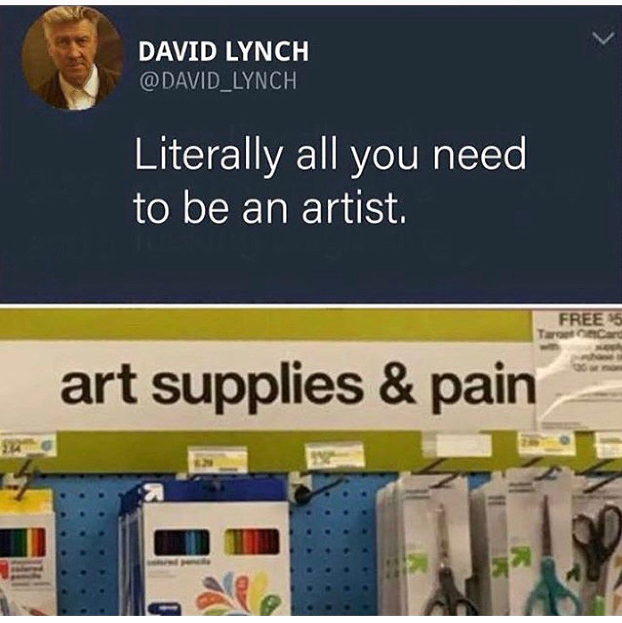 David Lynch twitter meme about art and pain