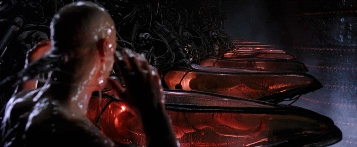 """Life-support system."" A black communal robot placenta manages the human pods in The Matrix."
