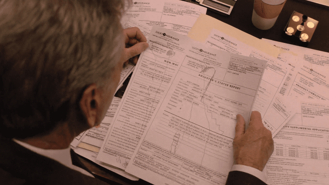 Bushnell Mullins deciphers the meaning behind Dougies drawings on insurance papers