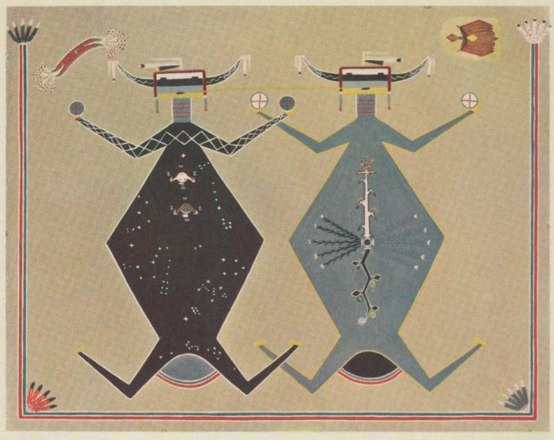 Navajo sand painting motif below, Father Sky and Mother Earth are connected mouth to mouth by a track of corn pollen.