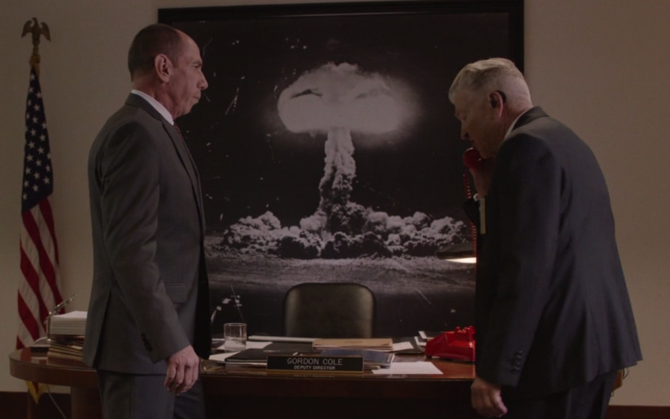 The image of the Trinity Bomb hangs in Gordon Coles office
