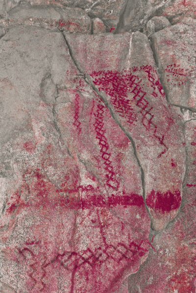 Luiseño or Kumeyaay red ochre puberty drawings on a cliff face near San Diego, California.