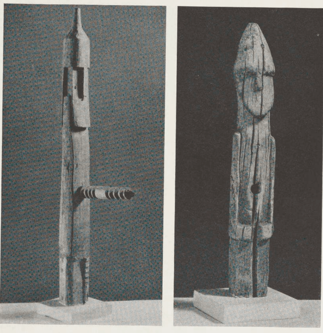 Ithyphalic Zuni Ahayu:da 'twin gods' or 'war gods' appear as corn cobs/phalluses with umbilical cord-penises.