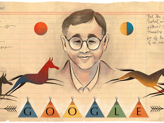 Google simulated ledger art in celebration of author James Welch