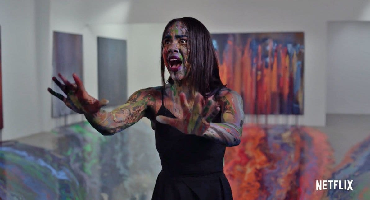 Josephina (Zawe Ashton) becomes graffiti art in Velvet Buzzsaw
