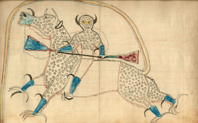 an 1880 ledger drawing by Black Hawk (Sans Arc Lakota) depicting a Horned Clown/Thunder Being/Destroyer on a horse-like creature with eagle feet and buffalo horns.
