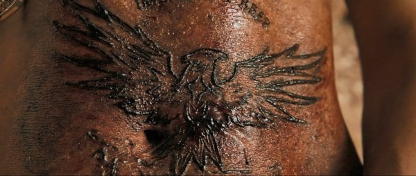 a tattoo of an angel burnt into skin