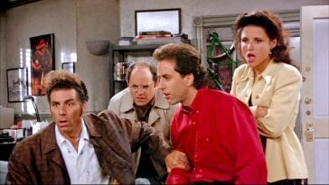 Kramer, George, Seinfeld and Elaine look shocked