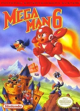 Box art for Mega Man 6, by Capcom and published by Nintendo