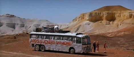 The locals spray paint homophobic slurs onto the bus