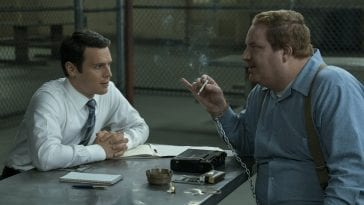 Holden Ford (Jonathan Groff) interviews serial killer Jerry Brudos (Happy Anderson) in Mindhunter Season 1