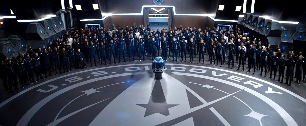 "The crew gathers for Airiam's funeral on Star Trek: Discovery ""The Red Angel"""