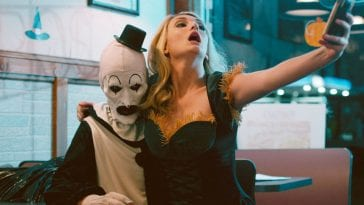 A girl takes a selfie with Terrifer