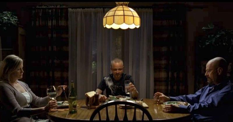 Skyler, Jesse and Walt have dinner in Breaking Bad