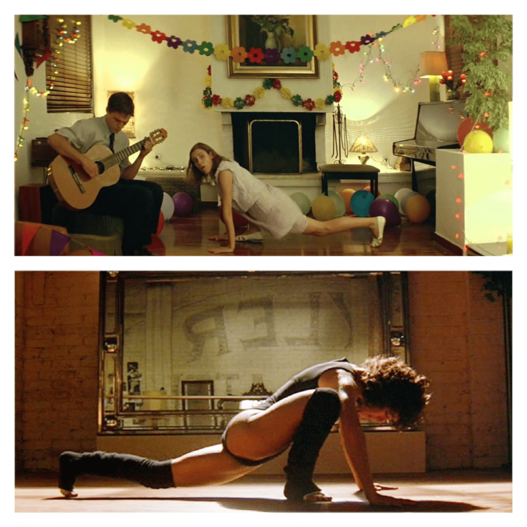 Two dance scenes from Dogtooth and Flashdance.