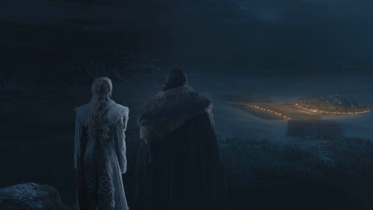 Daenerys and Jon Snow look over Winterfell as the battle of Game of Thrones The Long Night begins