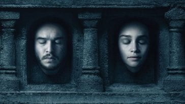 Jon Snow and Daenerys Targaryn's faces as in the temple of the Many Faced God in a promo for Game of Thrones