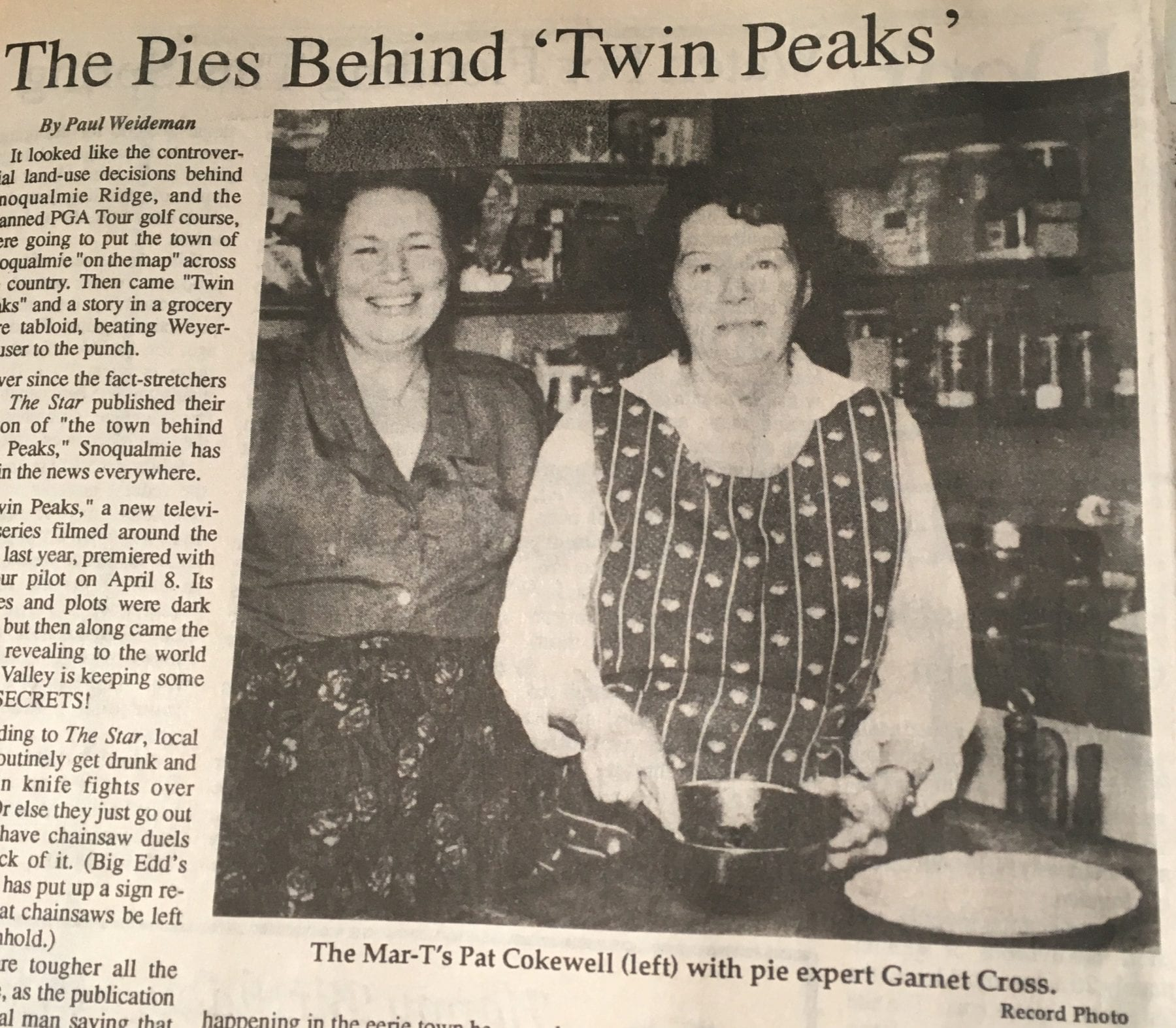 Pat Cokewell Mar-T diner owner in the Snoqualmie Valley Record